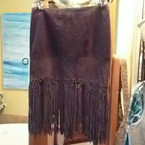 Be be Leather Brown Fringe Skirt